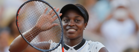 Sloane Stephens after  winning her fourth round match against  Garbine Muguruza on June 2 (Michel Euler)