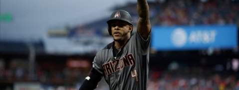 Arizona Diamondbacks' Ketel Marte reacts after hitting a home run off Philadelphia Phillies starting pitcher Jerad Eickhoff during the first inning of a baseball game, Monday, June 10, 2019, in Philadelphia.