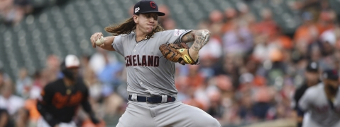 Indians starter Mike Clevinger was touched for seven runs in less than two innings on June 28 (Gail Burton)