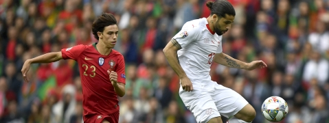 Portugal's Joao Felix (left) and Switzerland's Ricardo Rodriguez challenge for the ball during the UEFA Nations League semifinal on June 5  (Martin Meissner)