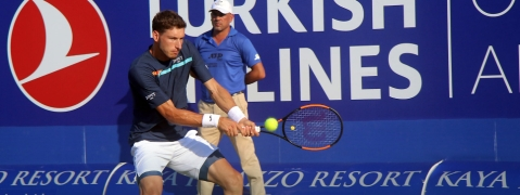 Pablo Carreno Busta playing yesterday against Bernard Tomic in Antalya.