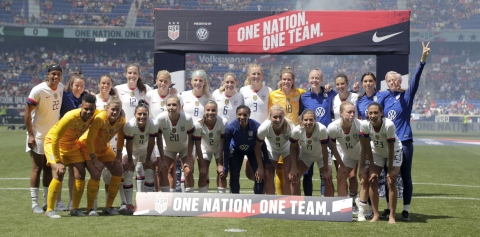 The United States women's national team  following an international friendly soccer match against Mexico on  May 26 (Julio Cortez)