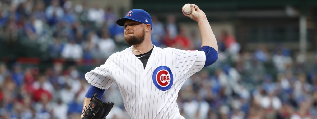 Cubs starting pitcher Jon Lester delivers during the first inning against the Cardinals on  June 8 (Jeff Haynes)