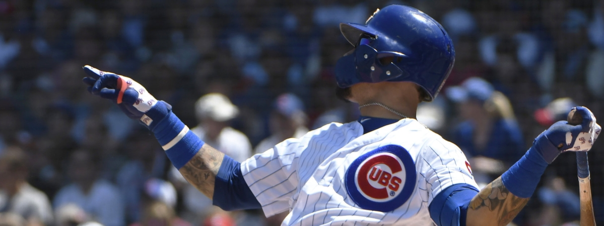 Cubs' Javier Baez  hits a two run home run against the Cardinals on June 7 (David Banks)
