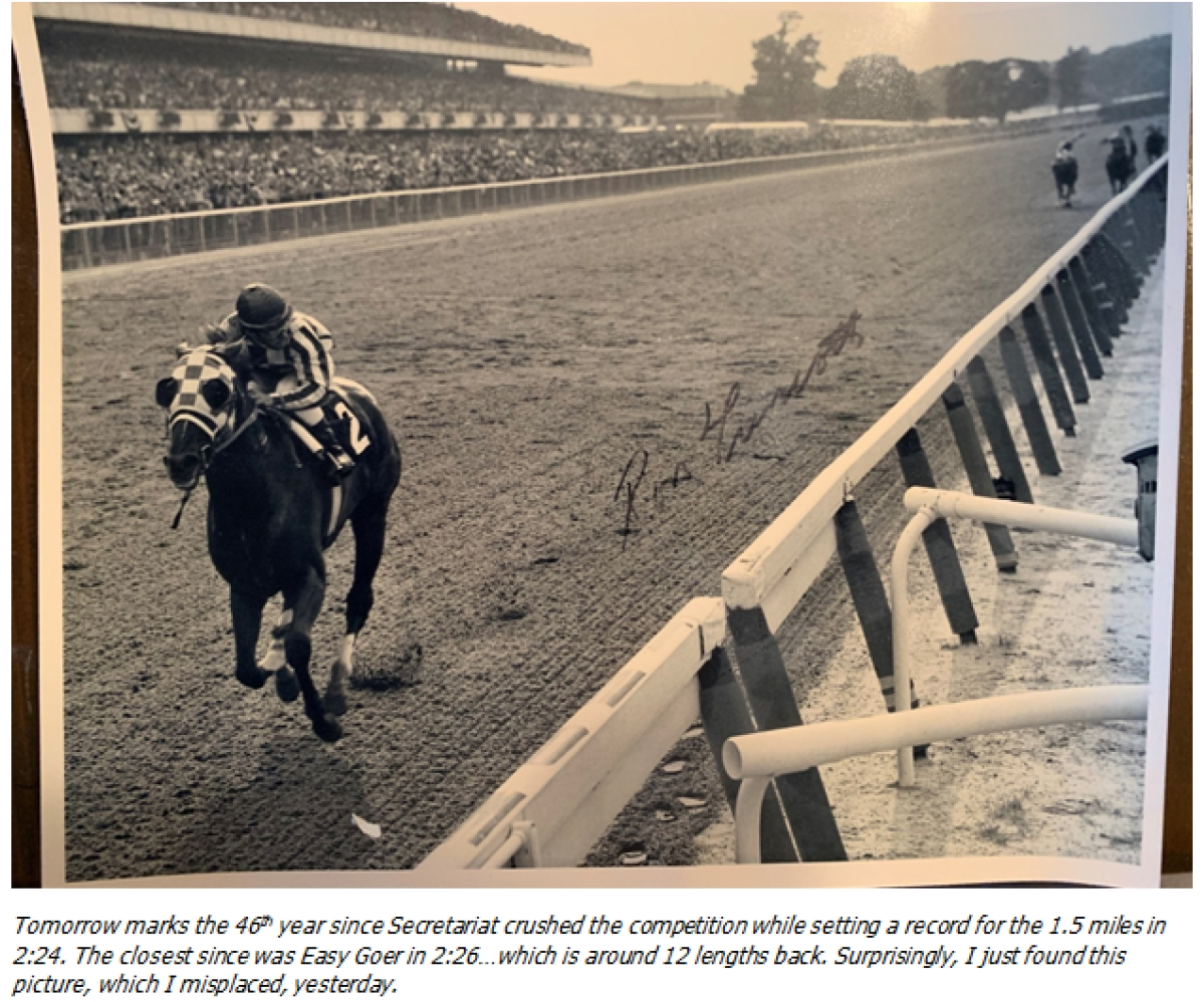 The great Secretariat winning the Belmont.
