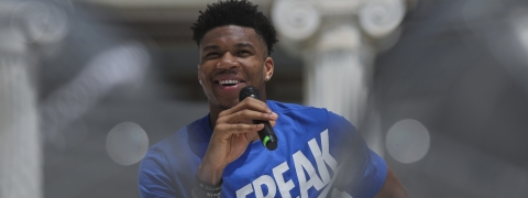 Basketball player Giannis Antetokounmpo, of the Milwaukee Bucks, who was named NBA Most Valuable Player for the 2018-19 speaks as he is presenting his new shoe, in Zappeion Hall, Athens, on June 28, 2019.