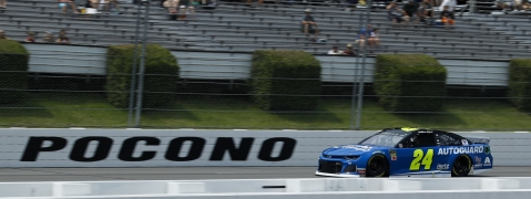 Pole-sitter William Byron drives down the front stretch during June 1 qualifying for Sunday's Pocono 400 (Matt Slocum)