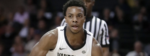 Vanderbilt guard Darius Garland brings the ball up against Alcorn State in a game on Nov. 16, 2018 (Mark Humphrey)