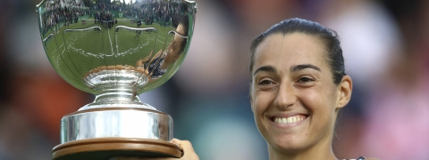 Caroline Garcia holds the trophy after beating  Donna Vekic, to win the women's singles final  of the Nottingham Cup Open on June 16 (Tim Goode/PA)