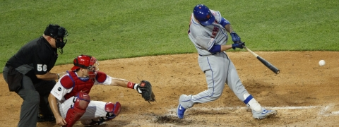 Mets' Tomas Nido hits laces an RBI single in the sixth inning June 26 (Matt Slocum)