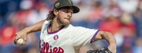 Philadelphia Phillies starting pitcher Aaron Nola throws during the first inning of a baseball game against the Colorado Rockies on May 18, 2019.