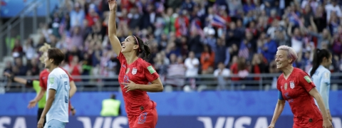 United States' Alex Morgan, left, celebrates after scoring the opening goal during the Women's World Cup Group F soccer match between United States and Thailand at the Stade Auguste-Delaune in Reims, France, Tuesday, June 11, 2019.