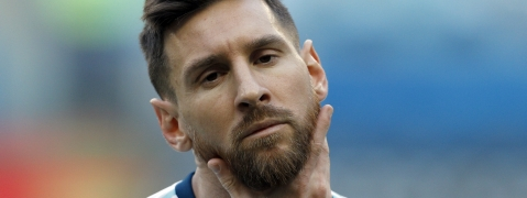 Argentina's Lionel Messi strokes his beard prior a Copa America Group B soccer match against Qatar at Arena do Gremio, Porto Alegre, Brazil, Sunday, June 23, 2019.