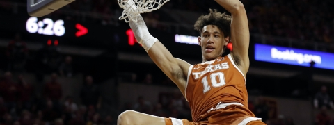 FILE - In this Feb. 2, 2019, file photo, Texas forward Jaxson Hayes (10) dunks the ball during the first half of an NCAA college basketball game, in Ames, Iowa.  (AP Photo/Charlie Neibergall, File)
