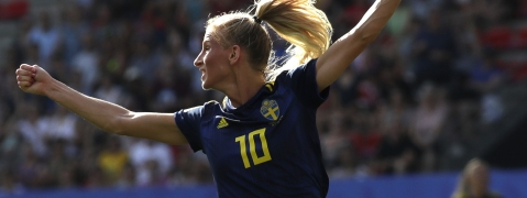 Sweden's Sofia Jakobsson celebrates after scoring her side's opening goal during the Women's World Cup quarterfinal soccer match between Germany and Sweden at Roazhon Park in Rennes, France, Saturday, June 29, 2019. (AP Photo/Alessandra Tarantino)
