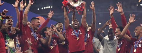 Liverpool's Daniel Sturridge lifts the trophy after winning the Champions League final soccer match between Tottenham Hotspur and Liverpool at the Wanda Metropolitano Stadium in Madrid on June 1, 2019.