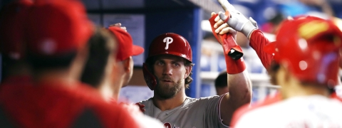 Phillies' Bryce Harper greets teammates in dugout after scoring during the sixth inning on June 30 (Brynn Anderson)