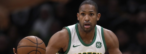 FILE - In this Jan. 16, 2019, file photo, Boston Celtics center Al Horford (42) looks to pass the ball during the first quarter of a basketball game against Toronto, in Boston. Horford is expected to sign with the Philadelphia 76ers. (AP Photo/Charles Krupa, File)