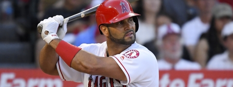 Los Angeles Angels' Albert Pujols bats during the third inning of a baseball game against the Baltimore Orioles on July 27, 2019, in Anaheim, California