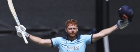 England's Jonny Bairstow celebrates after scoring a century during the Cricket World Cup match between New Zealand and England in Chester-le-Street, England, Wednesday, July 3, 2019. (AP Photo/Scott Heppell)