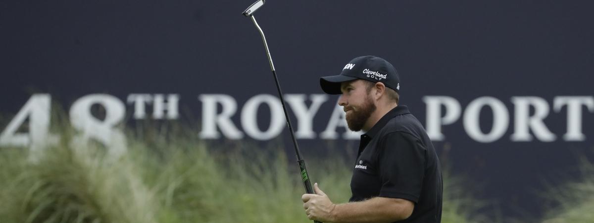 Ireland's Shane Lowry acknowledges the crowd after he completed his second round on the 18th green in British Open Golf Championships at Royal Portrush in Northern Ireland, Friday, July 19, 2019.(AP Photo/Matt Dunham)