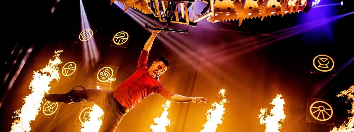 """Fernando Velasco performs a dangerous trick in """"Champions of Magic"""" at Caesars Atlantic City."""
