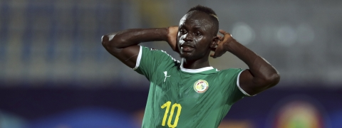 Senegal's Sadio Mane reacts after missing a chance to score during the African Cup of Nations group D soccer match between Kenya and Senegal in 30 June Stadium in Cairo, Egypt, Monday, July 1, 2019. (AP Photo/Hassan Ammar)