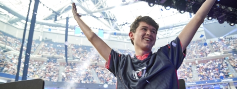 "In this Sunday, July 28, 2019 photo provided by Epic games, Kyle Giersdorf reacts after he won the Fortnite World Cup solo finals in New York. Giersdorf, of Pottsgrove, Pa. who goes by the name ""Bugha"" when competing, racked up the most points and won $3 million as the first Fortnite World Cup solo champion. (Epic Games via AP)"