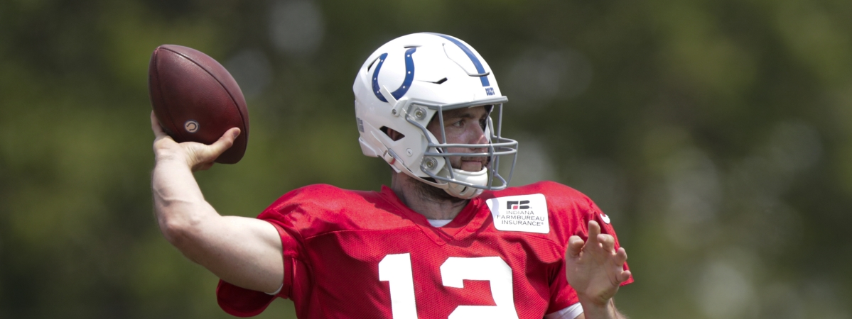 Indianapolis Colts quarterback Andrew Luck (12) throws during practice at the NFL team's football training camp in Westfield, Ind., Sunday, July 28, 2019. (AP Photo/Michael Conroy)