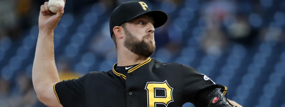Pittsburgh Pirates starting pitcher Jordan Lyles delivers during the first inning of a baseball game against the St. Louis Cardinals in Pittsburgh, Wednesday, July 24, 2019. (AP Photo/Gene J. Puskar)