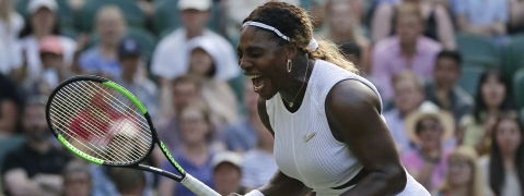 United States' Serena Williams celebrates winning a point against Italy's Giulia Gatto-Monticone in a Women's singles match during day two of the Wimbledon Tennis Championships in London, Tuesday, July 2, 2019.