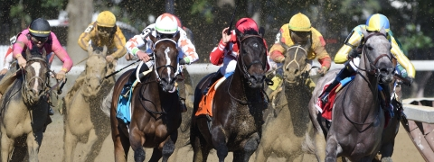 Catherinethegreat (far right) pulls away at the top of the stretch to win The Schuylerville Stakes on Saratoga Opening Day in 2018.