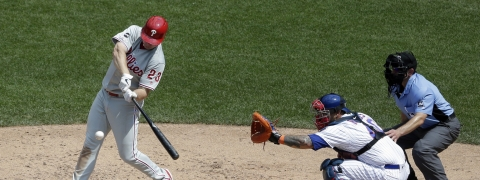 Phillies' Jay Bruce powers his  two-run home run during the sixth inning on July 7 (Seth Wenig)