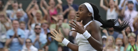 "United States' Cori ""Coco"" Gauff celebrates after beating Slovenia's Polona Hercog on  July 5 (Ben Curtis)"