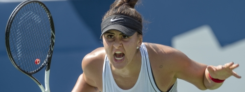 Bianca Andreescu of Canada reacts during her match against Kiki Bertens of the Netherlands during the Rogers Cup women's tennis tournament Thursday, Aug. 8, 2019, in Toronto. (Frank Gunn/The Canadian Press via AP)