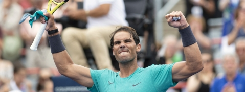 Rafael Nadal of Spain celebrates his victory over Daniel Evans of Great Britain during second round of play at the Rogers Cup tennis tournament Wednesday August 7, 2019 in Montreal. (THE CANADIAN PRESS/Paul Chiasson)