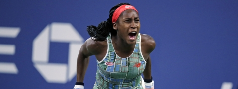 Coco Gauff of the United States, celebrates after defeating Timea Babos, of Hungary, during the second round of the U.S. Open tennis tournament in New York, Thursday, Aug. 29, 2019. (AP Photo/Charles Krupa)