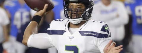 Seattle Seahawks quarterback Russell Wilson passes against the Los Angeles Chargers during the first half of an NFL preseason football game Saturday, Aug. 24, 2019, in Carson, California.