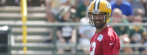 Green Bay Packers' Aaron Rodgers reacts during NFL football training camp on July 25, 2019.