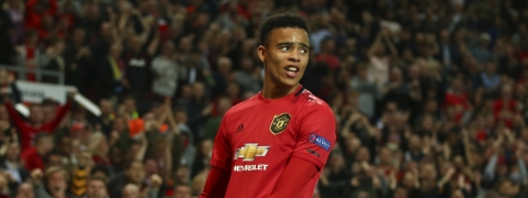 Manchester United's Mason Greenwood celebrates scoring his sides first goal during the Europa League Group L soccer match between Manchester United and Astana at Old Trafford stadium in Manchester, England Thursday, Sept. 19, 2019. (AP Photo/Dave Thompson)