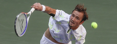 Daniil Medvedev, of Russia, serves to Stan Wawrinka, of Switzerland, during the quarterfinals of the US Open tennis championships Tuesday, Sept. 3, 2019, in New York. (AP Photo/Frank Franklin II)