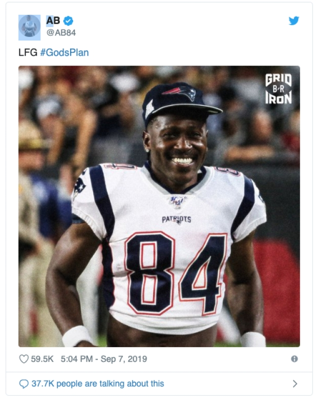Antonio Brown posts a picture of himself in a Patriots uniform.