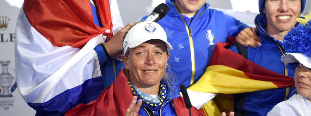 Team Europe's Suzann Pettersen announces her retirement in the post match press conference following Team Europe's victory in the Solheim Cup against the US at Gleneagles, Auchterarder, Scotland, Sunday, Sept. 15, 2019. (Ian Rutherford/PA via AP)