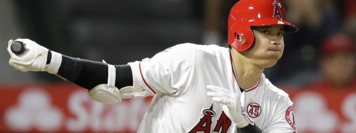 Los Angeles Angels' Shohei Ohtani, of Japan, watches a foul ball during the third inning of a baseball game against the Cleveland Indians in Anaheim, Calif., Monday, Sept. 9, 2019.