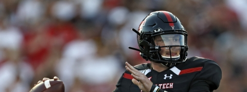 Texas Tech's Alan Bowman looks for a receiver during the first half of the team's NCAA college football game against UTEP on Saturday, Sept. 7, 2019, in Lubbock, Texas. (Brad Tollefson/Lubbock Avalanche-Journal via AP)