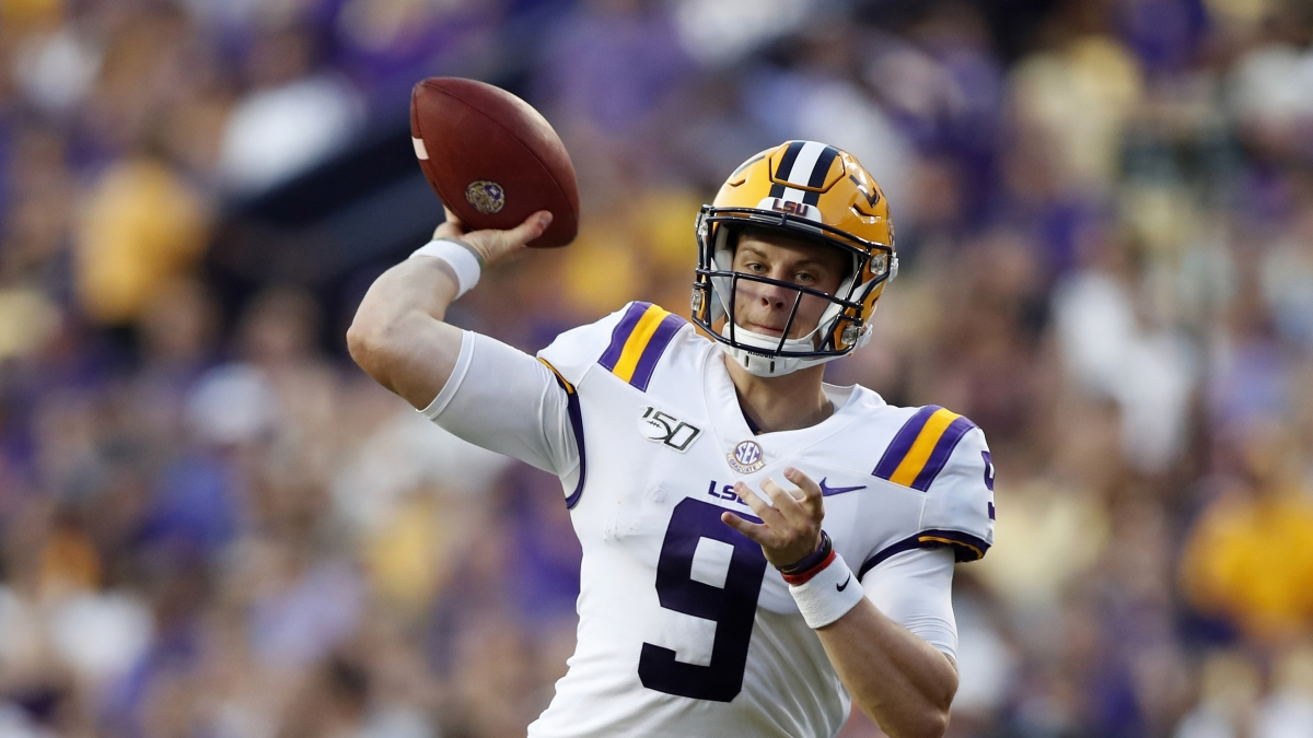 FILE - In this Aug. 31, 2019, file photo, LSU quarterback Joe Burrow (9) throws a pass during an NCAA football game against Georgia Southern in Baton Rouge, La. Burrow is one of seven potential first round picks from LSU. (AP Photo/Tyler Kaufman, File)