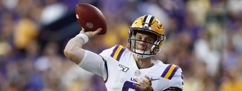 FILE - In this Aug. 31, 2019, file photo, LSU quarterback Joe Burrow (9) throws a pass during an NCAA football game against Georgia Southern in Baton Rouge, La. The LSU defense is dotted with players projected as future NFL first-round draft picks. And the Tigers unveiled a new up-tempo offense last week that saw Burrow tie a school record with five touchdown passes in the first half. (AP Photo/Tyler Kaufman, File)