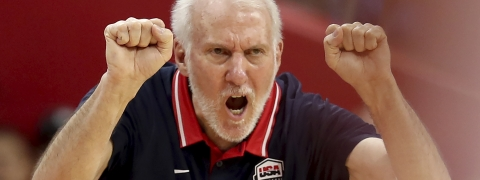 United States' coach Gregg Popovich gestures during a quarterfinal match against France for the FIBA Basketball World Cup in Dongguan in southern China's Guangdong province on Wednesday, Sept. 11, 2019. France defeated United States 89-79.