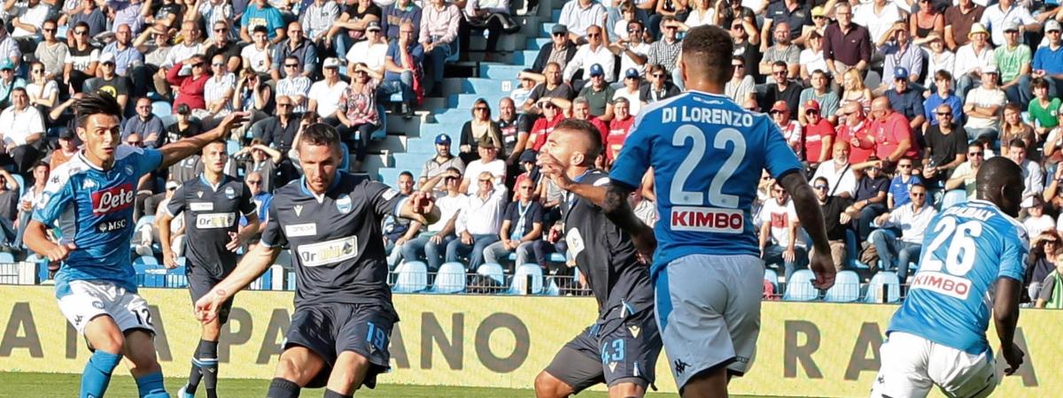 Spal's Jasmin Kurtic scores during the Italian Serie A soccer match between Spal and Napoli, at the Paolo Mazza stadium in Ferrara, Italy, Sunday, Oct. 27, 2019. (Serena Campanni/ANSA via AP)