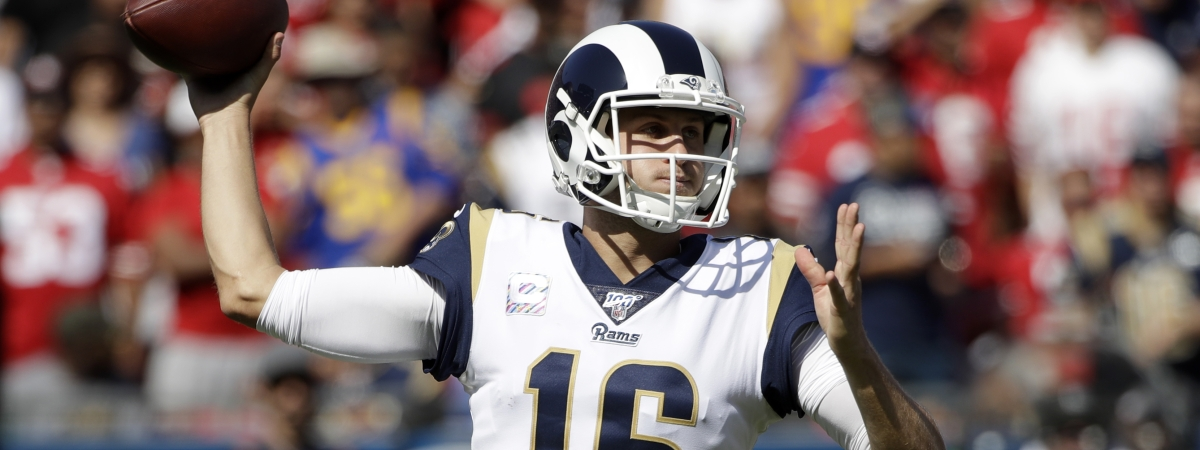 Los Angeles Rams quarterback Jared Goff throws against the San Francisco 49ers during the first half of an NFL football game Sunday, Oct. 13, 2019, in Los Angeles.